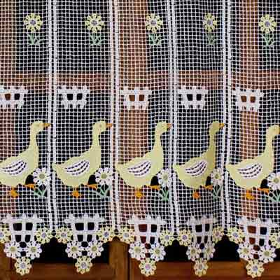 Yellow geese colorful macrame curtain