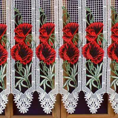 Poppies colorful macrame curtain