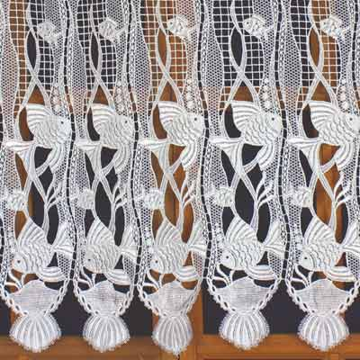 Macrame lace curtain with fish