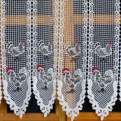 Hen colorful macrame curtain