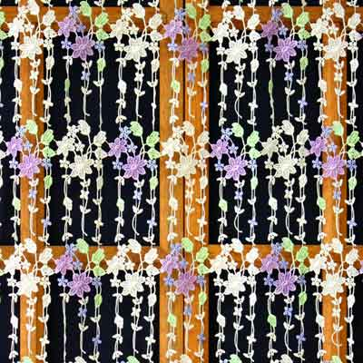 Colored printemps lace curtain