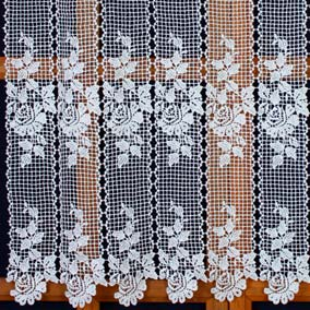 Macrame lace curtain with rose