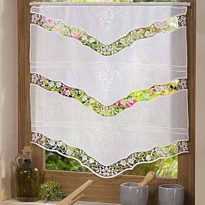 Etamine and macramé lace curtain