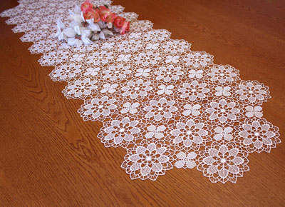light Macrame lace table runner