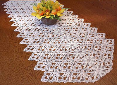 Macrame lace table runner