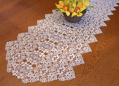 Fine Macrame lace table runner
