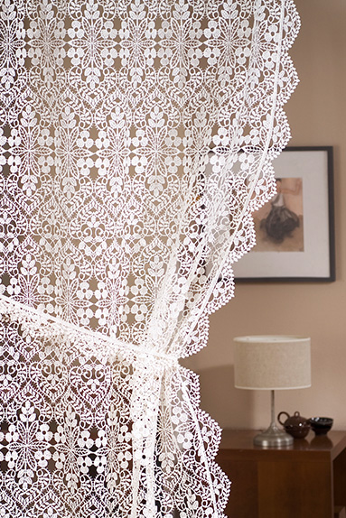 Macrame lace curtains