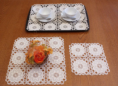 square and rectangular lace doilies