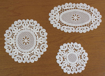 Oval and round lace doily