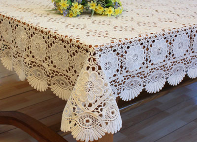 Macrame lace tablecloths - Nappe table rectangulaire ...