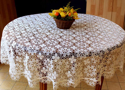 Fine round Lace tablecloth Amaryllis