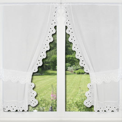 large lace trimmed curtains