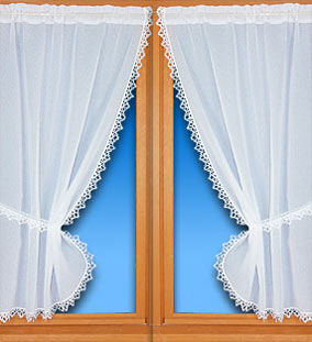 lace trimmed curtain small window