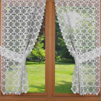 Macrame lace trimmed curtain