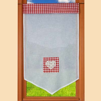 Red gigham kitchen curtain