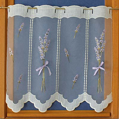 Lace tier curtain lavender