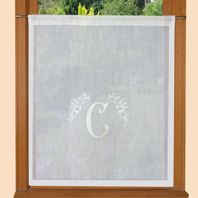 Mongram embroidered curtain