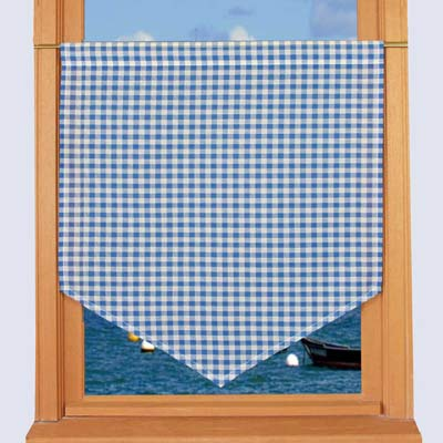 Blue gingham curtain