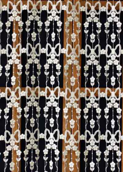Floral macrame lace curtain