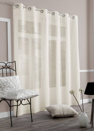 "Ecru sheer curtains ""Sable"""